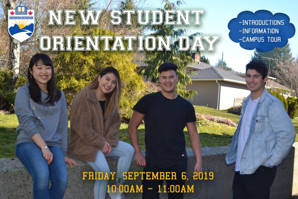 New Student Orientation will be Friday, September 6, 2019 from 10:00am - 11:00am