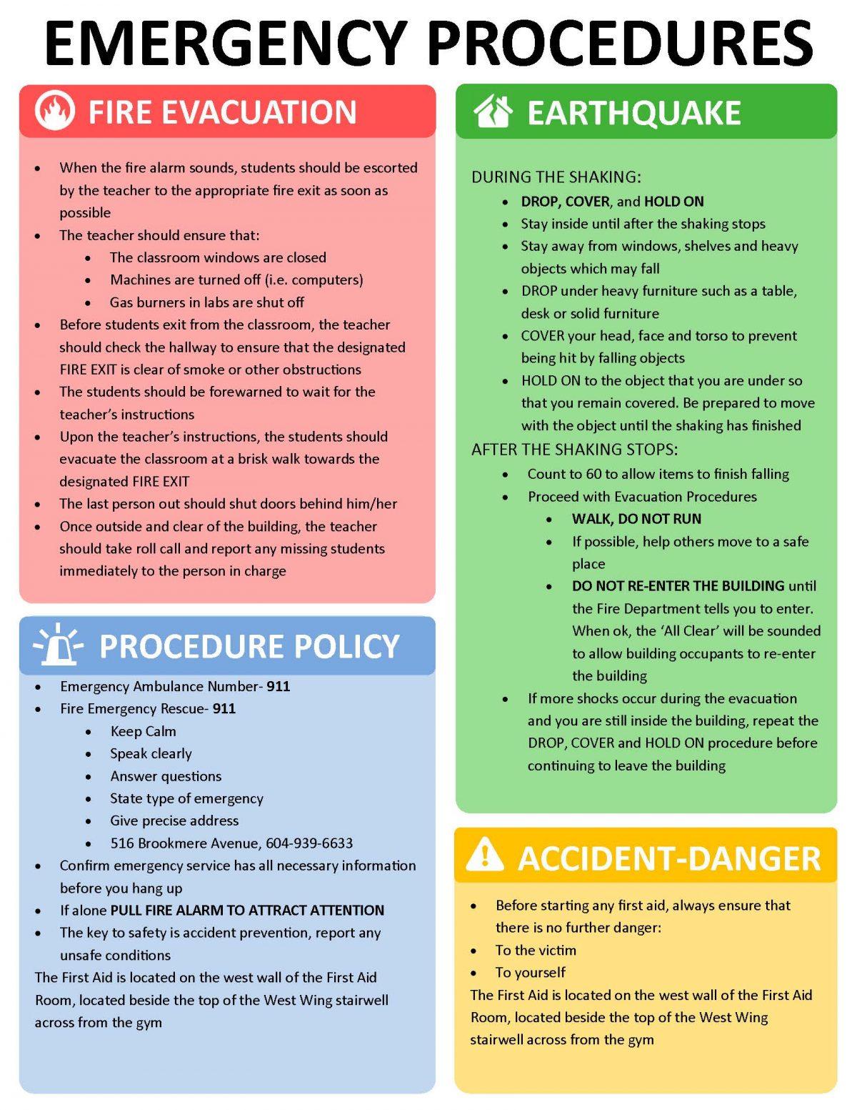 Fire & Earthquake Procedures